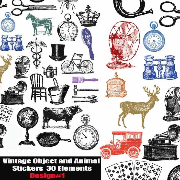 Vintage objects,embellishment Die Cut SET,LABELS & STICKERS Scrapbook Decoupage