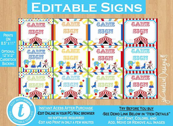 Circus Game Signs Carnival Game Signs Carnival Signs Circus Signs Carnival Theme Party Decor Sign Yard Sign Circus Theme Party Decorations