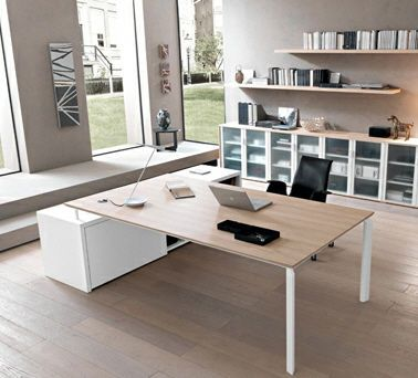 contemporary executive wooden office desk with metal structure ANYWARE0 Martex