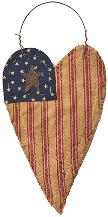 Heart Stiffy Flag Ornament - Kruenpeeper Creek Country Gifts