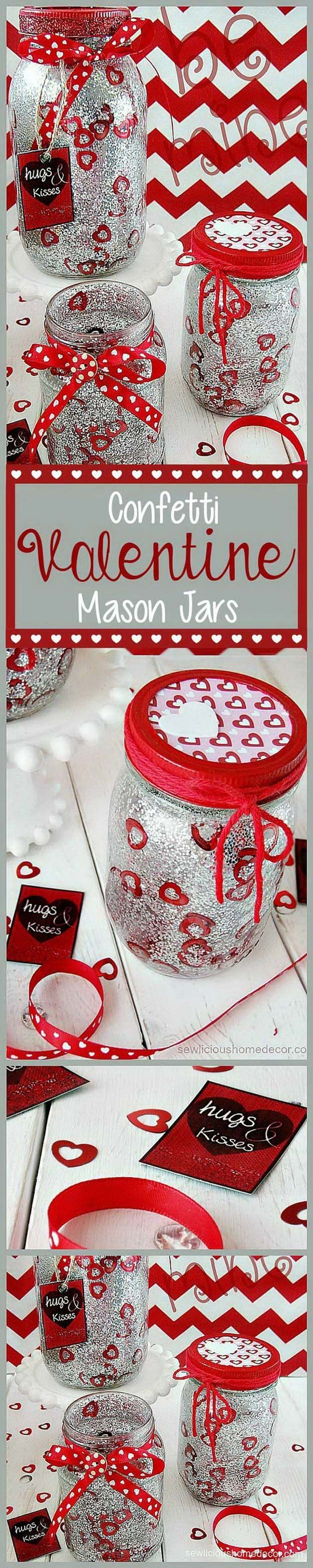 Best Mason Jar Valentine Crafts - Red Valentine Jars with Glitter and Confetti - Cute Mason Jar Valentines Day Gifts and Crafts | Easy DIY Ideas for Valentines Day for Homemade Gift Giving and Room Decor | Creative Home Decor and Craft Projects for Teens, Teenagers, Kids and Adults http://diyprojectsforteens.com/mason-jar-valentine-crafts