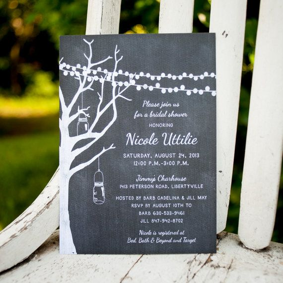 Bridal Shower Invite Engagement Party Chalkboard by starboardpress, $3.25