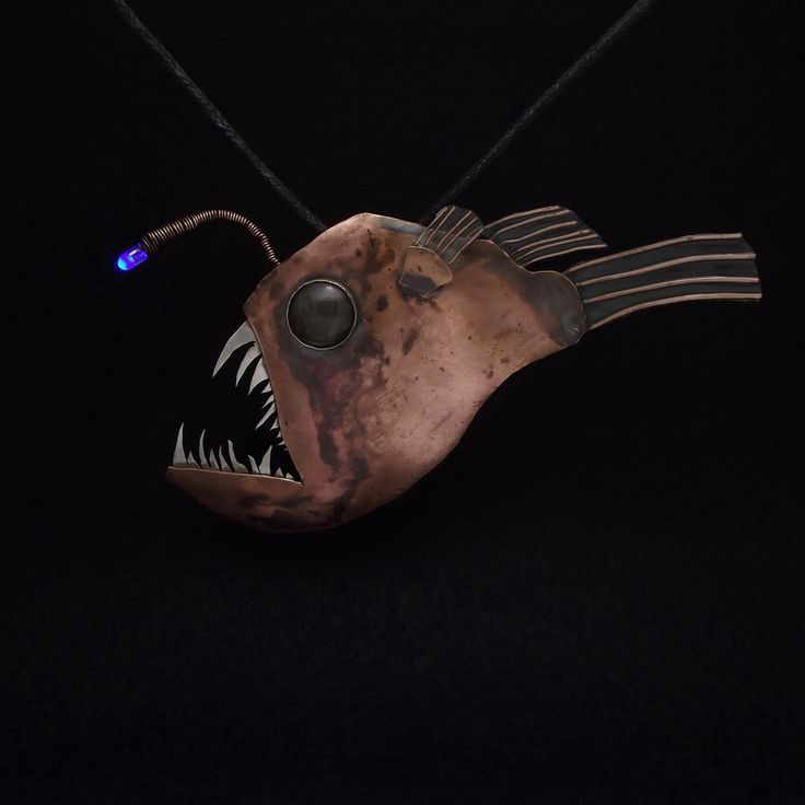 Anglerfish necklace - deep sea monster. Made by Hubert Kowalski (blog.sowiarnia.pl)