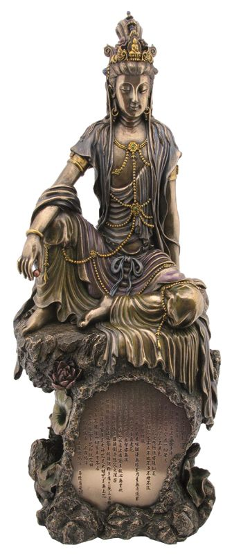 Quan Yin - Seated on Heart Sutra pedestal [TL161900600] - $120.00 : The Guiding Tree | Online Metaphysical, Pagan, Body Mind Spirit Store | Statuary, Gifts, Tarot, Learning Cards, Music, Unique Gifts For Body Mind and Spirit