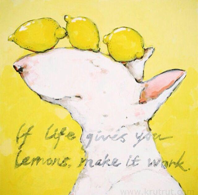 When life gives you lemons! English Bull Terrier by Krutrut