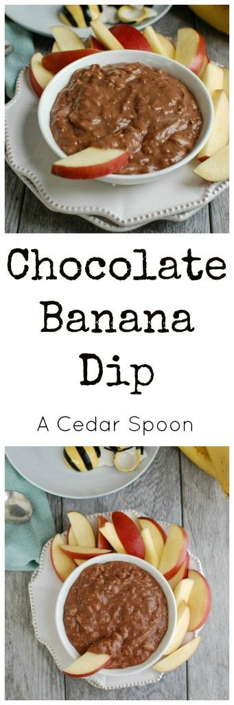 5 Ingredient Chocolate Banana Dip is simple to make and a snack or dessert that kids and adults will love.// A Cedar Spoon