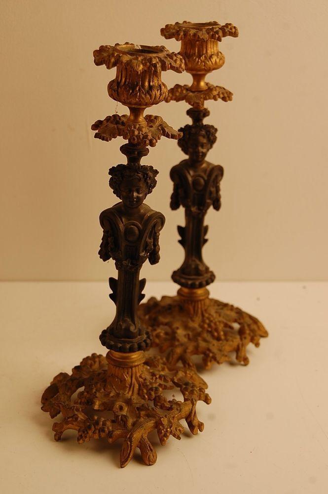 e385 paire de bougeoir bronze dor empire 19 ancien cariatide napoleon iii chandelier antique. Black Bedroom Furniture Sets. Home Design Ideas