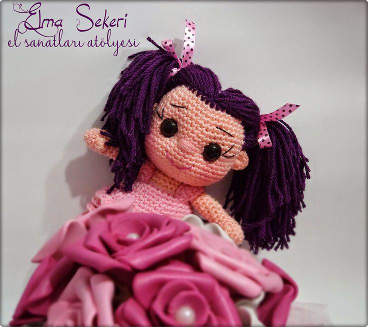 Elma Şekeri El Sanatları Atölyesi: Mor Saçlı Bıcırık / Amigurumi Bebek amigurumi doll