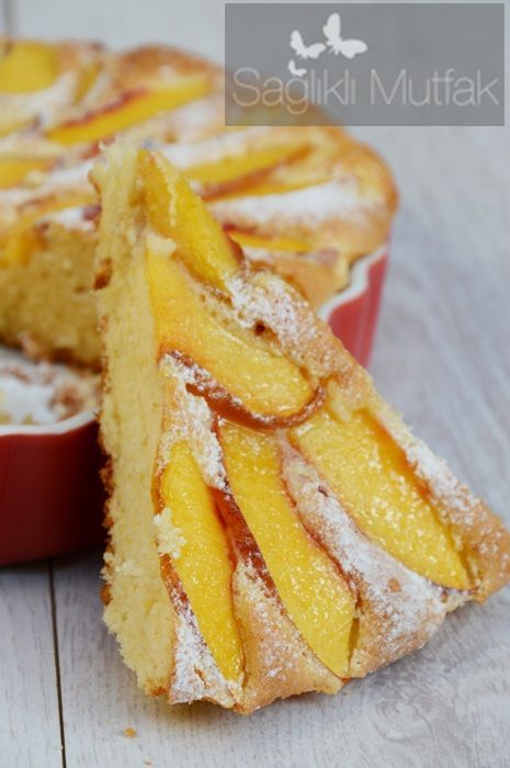 şeftalili yağsız kek Nectarine Cake - made in Thermo as needed to whip whites with butterfly. Delicious. Could possibly reduce sugar a little as peaches were very sweet. Used 2.5 peaches but can use just 2.