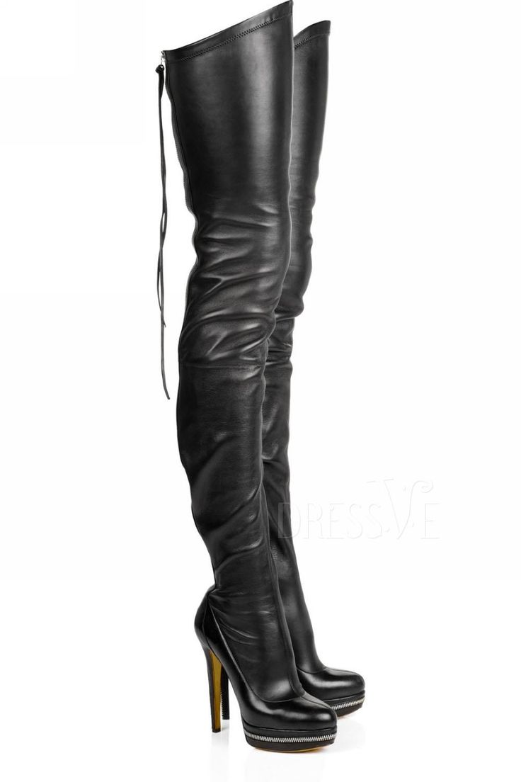 New Arrival Fashion Black Leather Stiletto Heels Knee High Women's Boots