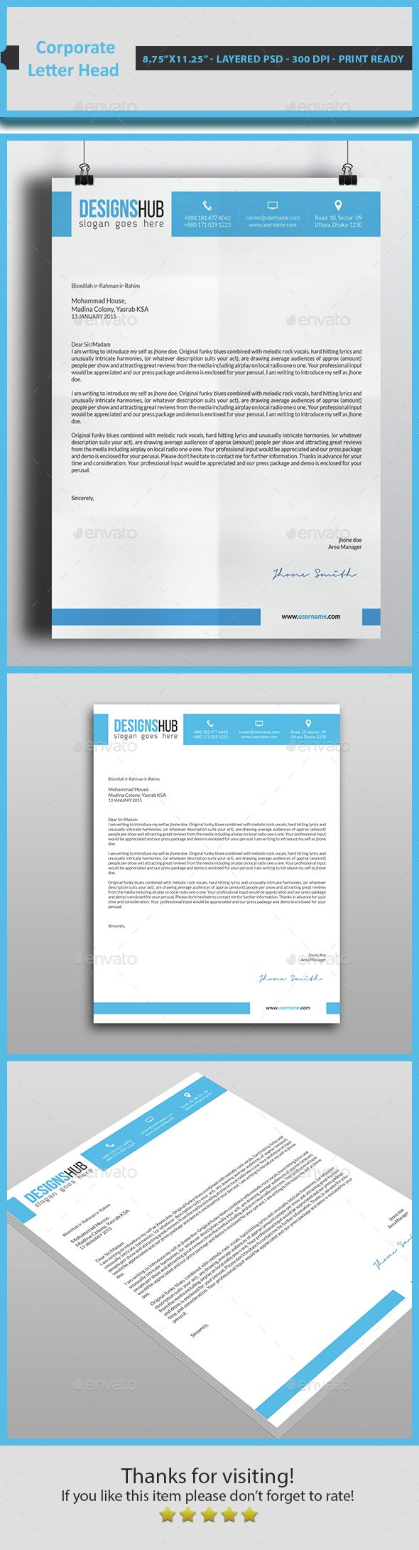 corporate letter headdownload here httpgraphicrivernet - Letterhead Design Ideas