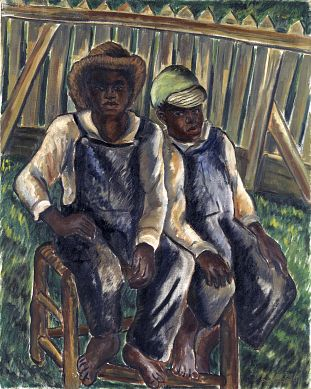 Brothers, 1934, Malvin Gray Johnson, oil on canvas, 38 x 30 in. (96.5 x 76.3 cm), Smithsonian American Art Museum, Gift of the Harmon Foundation, 1967.57.29