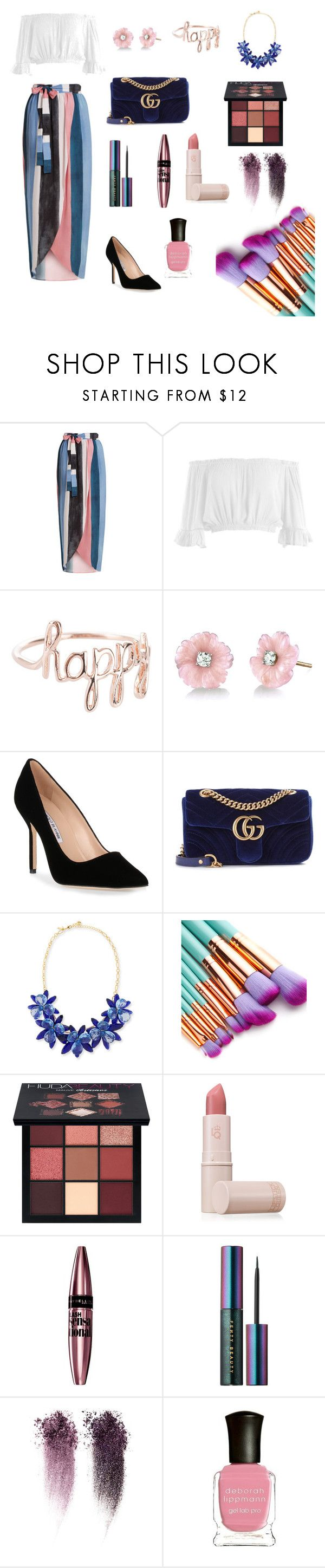 """""""Untitled #24"""" by courtneygirl0723 ❤ liked on Polyvore featuring Mara Hoffman, Sans Souci, Irene Neuwirth, Manolo Blahnik, Gucci, Kate Spade, Huda Beauty, Lipstick Queen, Maybelline and Puma"""