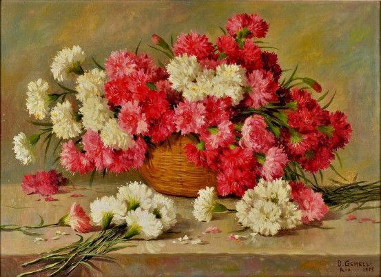 Cesto com flores, cravos brancos e vermelhos, 1955 Domingos Gemelli (Brasil, 1903-1985) óleo sobre tela, 54 x 73 cm