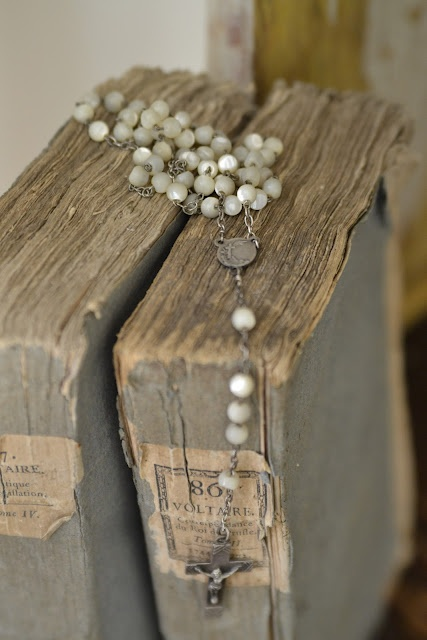 Faded Charm: ~White Wednesday # 169~  I have the white rosary that looks just like this one, sitting on my dresser right now. Received it at my First Holy Communion. - C Crane