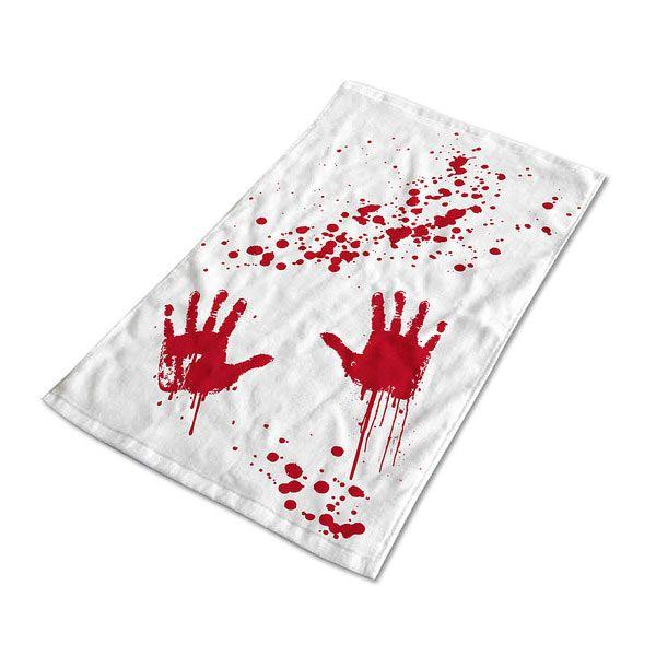 Toalla de baño Psicosis Original toalla de baño con manchas de manos y salpicaduras de sangre al estilo Psicosis.