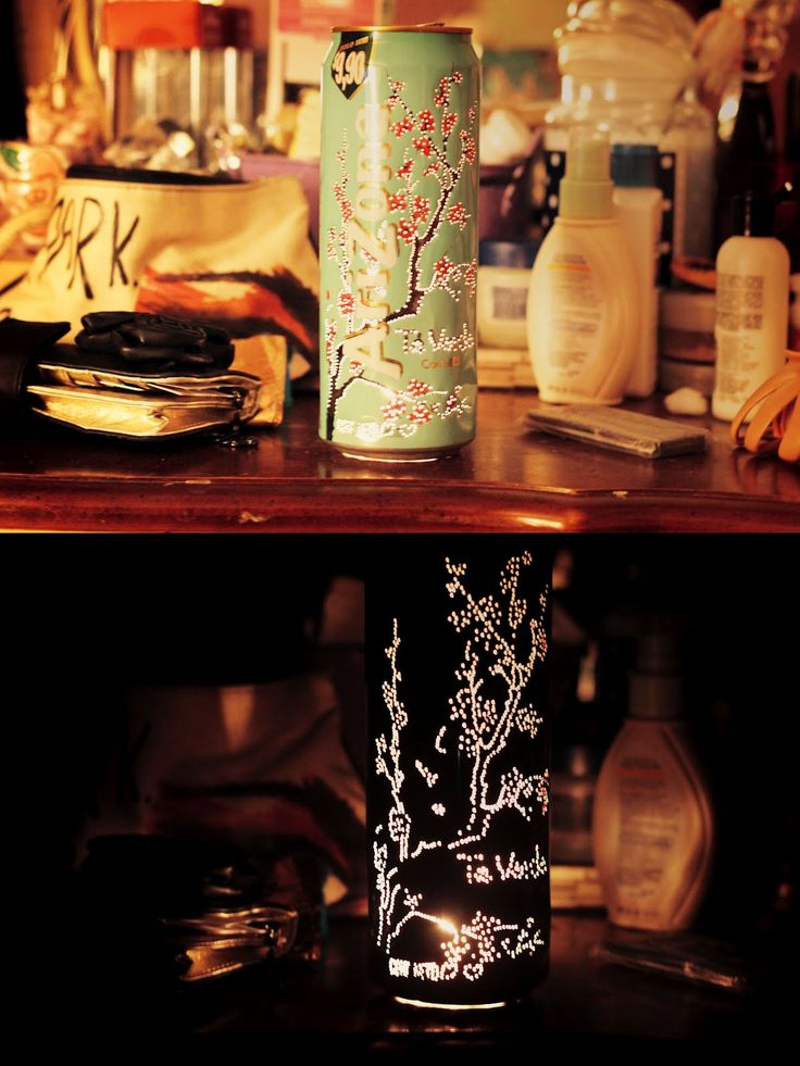 DIY arizona tea can candle. Would be neat with constellations