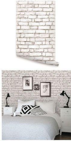 Casinha colorida: Em tempos de crise: papel de parede que simula os tijolos expostos
