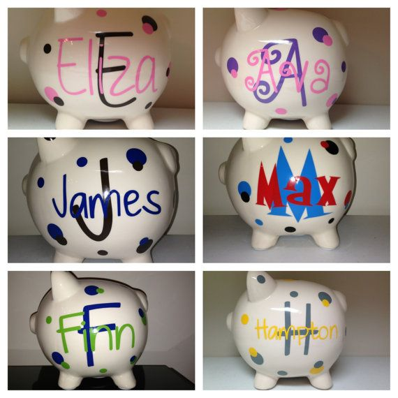 62 best banks images on pinterest baby sprinkle games dr oz and personalized piggy bank baby shower gift by meowmeowhousedesigns 1800 negle Choice Image