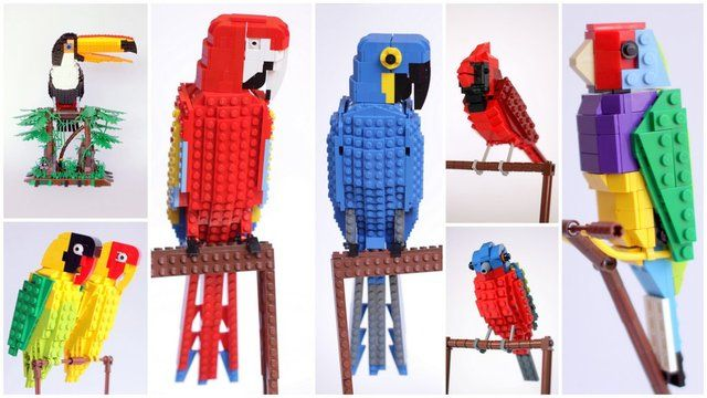 Macaws! L. would LOVE these! LEGO Bird Series by DeTomaso: Project design.
