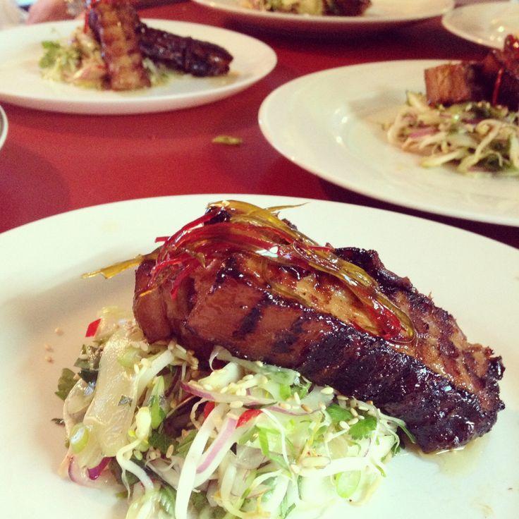 Sticky Pork Belly, Asian Salad, Chili Caramel