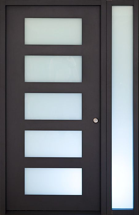 SINGLE MODERN DOOR WITH SIDELIGHT AND GREAT PRIVACY OF THE SATIN FIX GLASS.   MAKE IT YOUR VISITING www.DeDiamantIronDoors.com