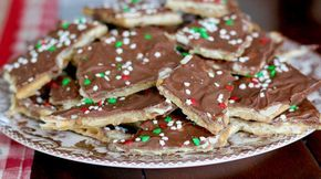 "Christmas Crack is really a buttery cracker toffee. We call it ""crack"" because it is addicting. So good and just a couple of ingredients!"