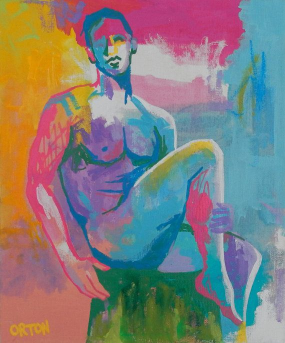 Abstract male nude paintings