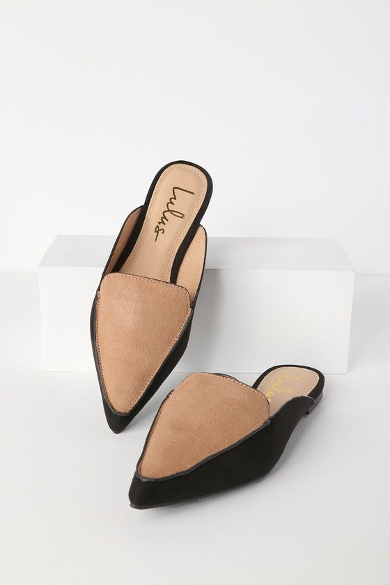 5c8abb5691 Lulus Exclusive! Step onto the scene looking chic with the Lulus Joelle  Color Block Nude and Black Suede Loafer Slides! Elevate any outfit with  these chic ...