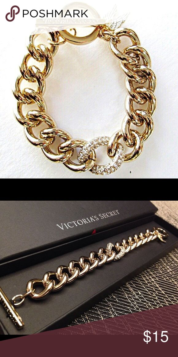 VC 10k Gold and Crystal Chain Bracelet with Wings In LIKE NEW condition. OG box not included, but packaged in specialized box for safe travel and storage :) 10k Gold plated Victoria's Secret Jewelry Bracelets