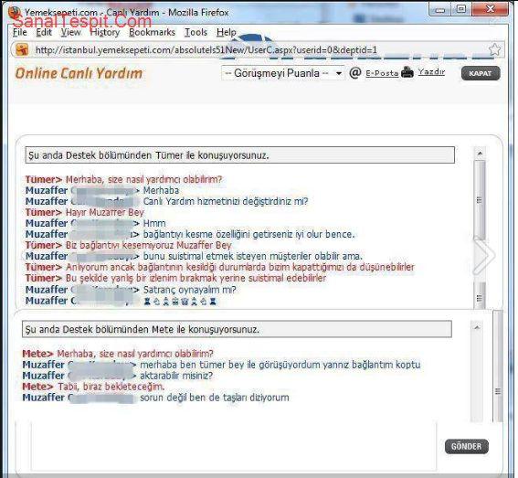 http://www.sanaltespit.com/Tespit/418/Yemek_sepeti_online_yardim.html Bağlantısı kopan elemanın yardım istemesi