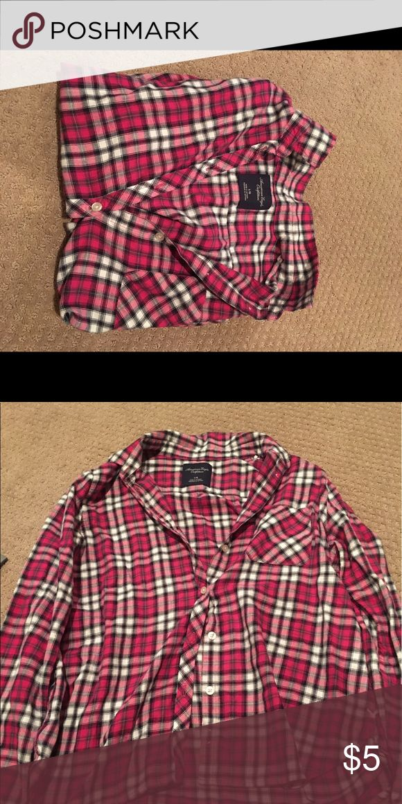 American Eagle Pink Flannel Shirt Pink Plaid Flannel Shirt! American Eagle Outfitters American Eagle Outfitters Tops Button Down Shirts