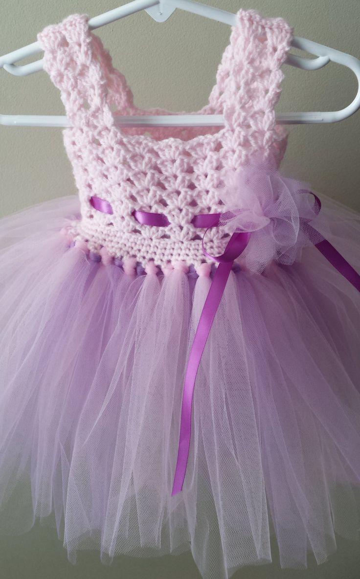 Crochet/Tulle baby dress van DeesCrochetEnvy op Etsy