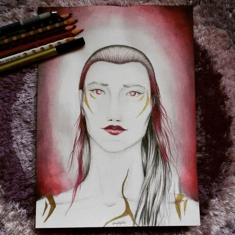 Warrior girl Colour pencils, Gold marker