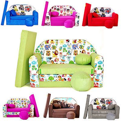 Childrenu0027s Sofa Foam Bed Kids Sofa + Pouffe + Pillow Kindersofa Playing  Sofa Toy