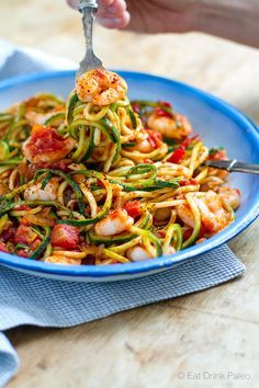 I love this delicious low carb, paleo pasta with succulent shrimp and spicy…
