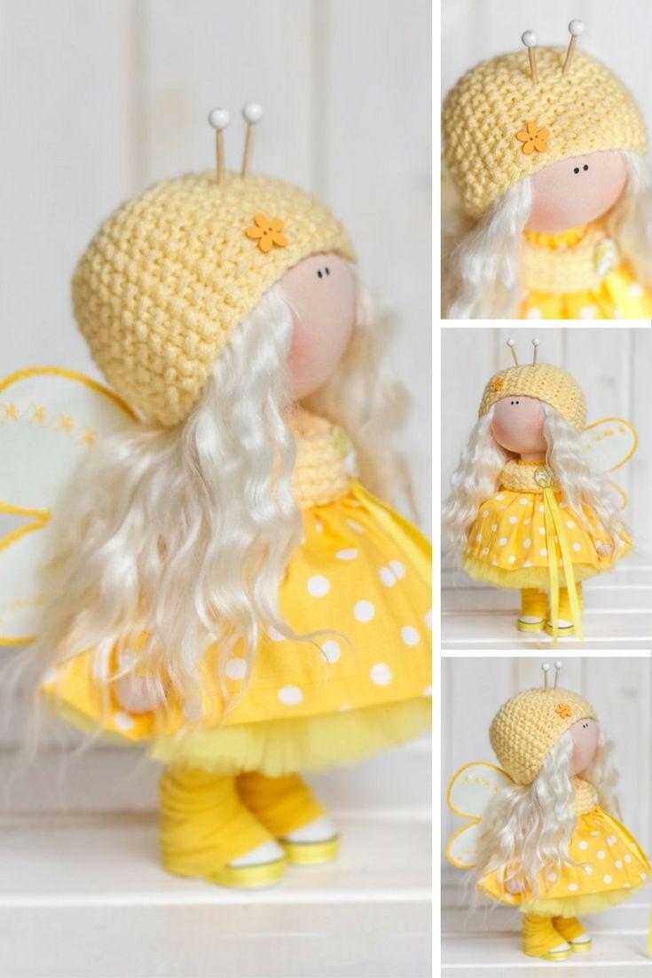 Bee doll doll Fabric doll Interior doll Handmade doll Textile doll Tilda doll Yellow doll Cloth doll Baby doll Art doll