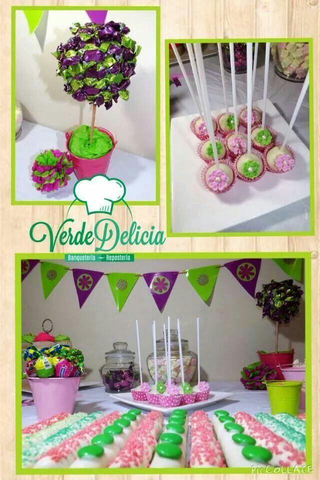 Mesa dulce verde rosa...