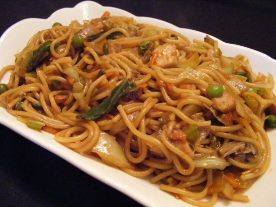 BETTER than carry out!  When craving Chinese food we prepare this dish.  The secret is in the last step-cooking the noodles until darken.  Easy preparation.