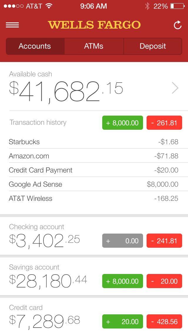 Dribbble Dribbble Large Jpg By Tim Resudek In 2020 Bank Account Balance Banking App Wells Fargo Account