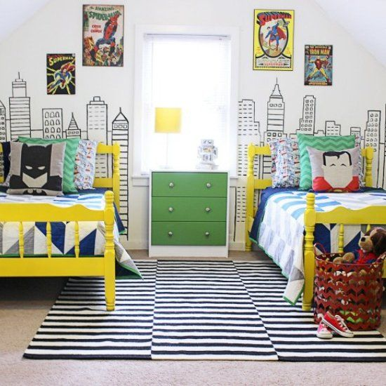 This superhero bedroom is bursting with color and a modern flair. The superhero theme and color palette could work for boys and girls alike!