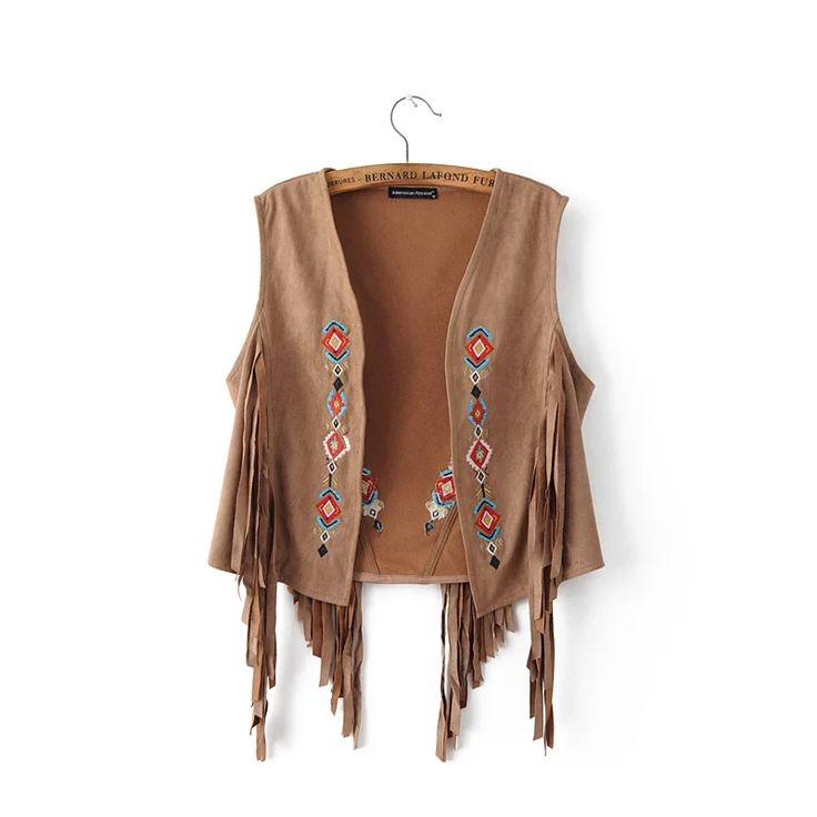 ==> [Free Shipping] Buy Best Summer autumn suede sleeveless tassels fringed vest cardigan black khaki Retro embroidered Suede Leather Vest Women Waistcoat Online with LOWEST Price | 32713208513