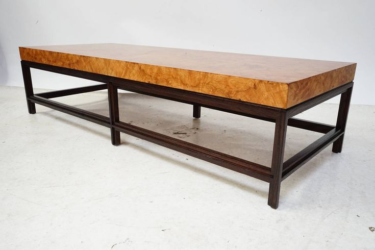 refinish burl wood table | Milo Baughman Olive Burl Wood and Dark Oak Cocktail Table For Sale at ...