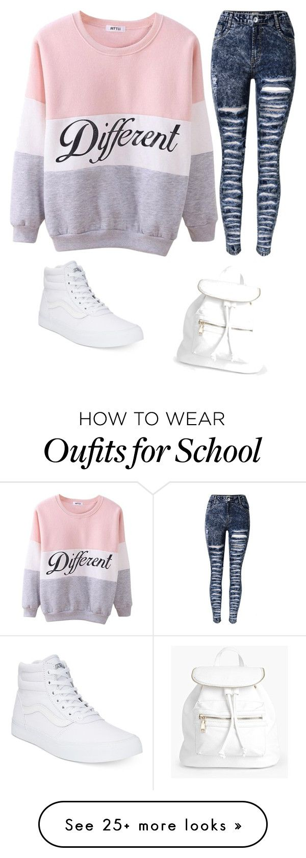 """""""school outfit"""" by myaonfyre on Polyvore featuring Vans and Boohoo"""