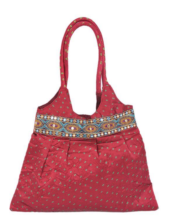 Red Silk Shopper Bag