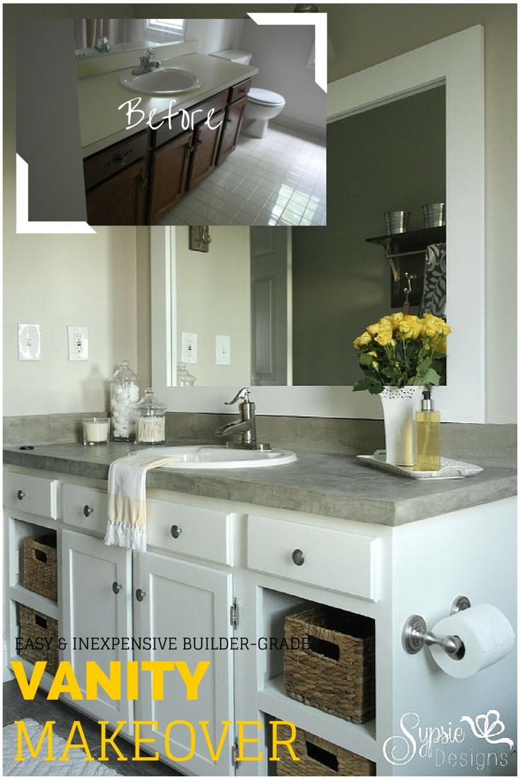 Open bathroom designs - Old Builder Grade Bathroom Vanity Makeover Plus Tutorial Sypsie Designs