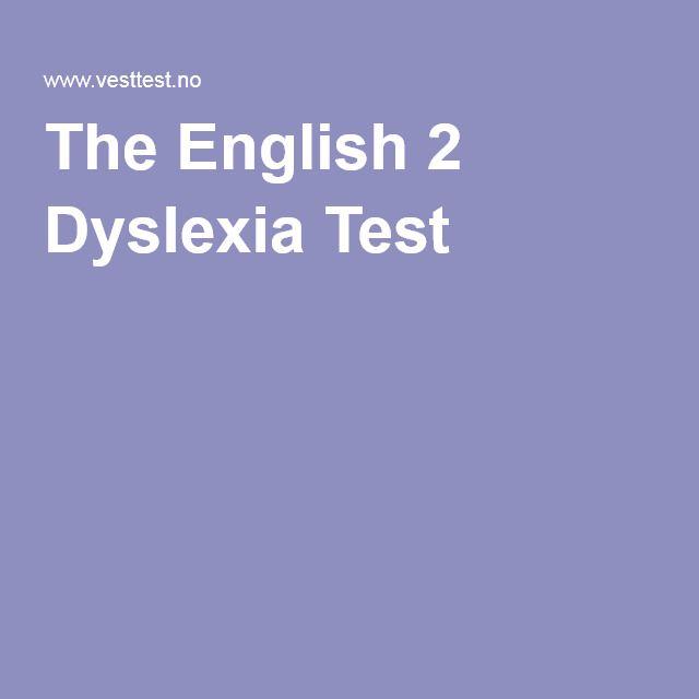 The English 2 Dyslexia Test