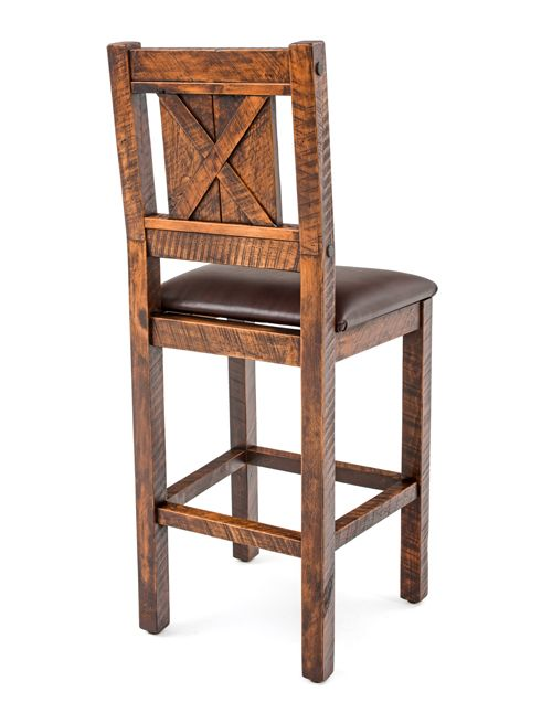 Rustic Bar Stools Made From Solid Wood And Available In 24 Or 30 Seat Height With A Upholstered Leather Proudly America