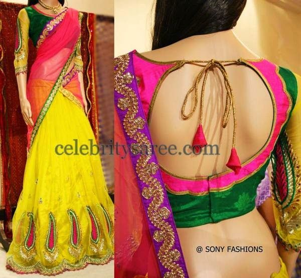 Yellow Crepe Half Saree by Sony | Saree Blouse Patterns