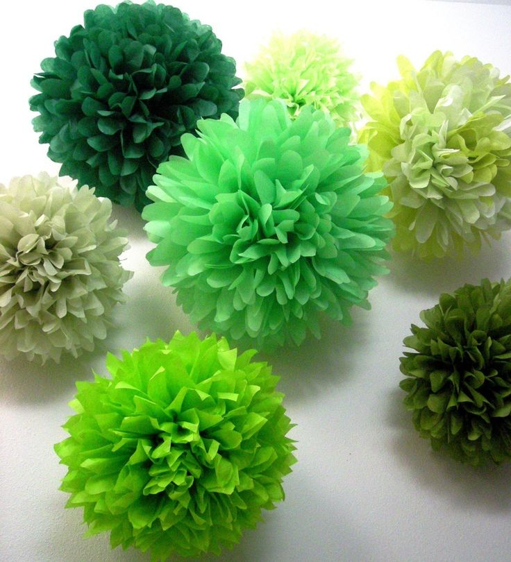 Mixed Greens ... 10 tissue paper poms // wedding ceremony // housewarming party // dinner party // paper decorations. $35.00, via Etsy.